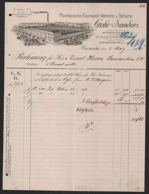 An antique invoice from Sanders